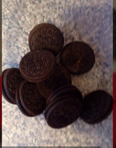 get 9 or so oreos and crush with an end of a rolling pin xx