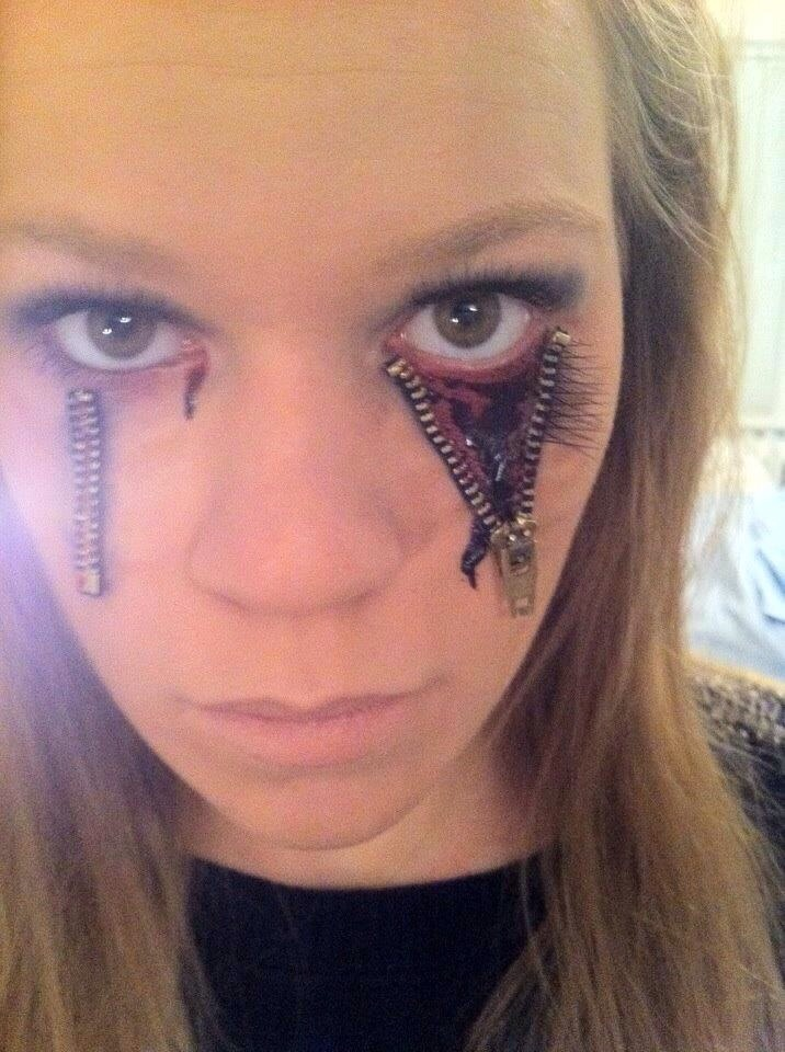 zipper halloween makeup super fun and pretty easily done
