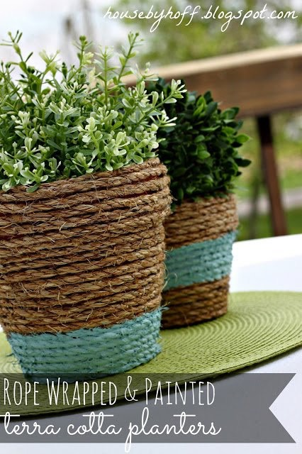 5. Planter pots wrapped in rope