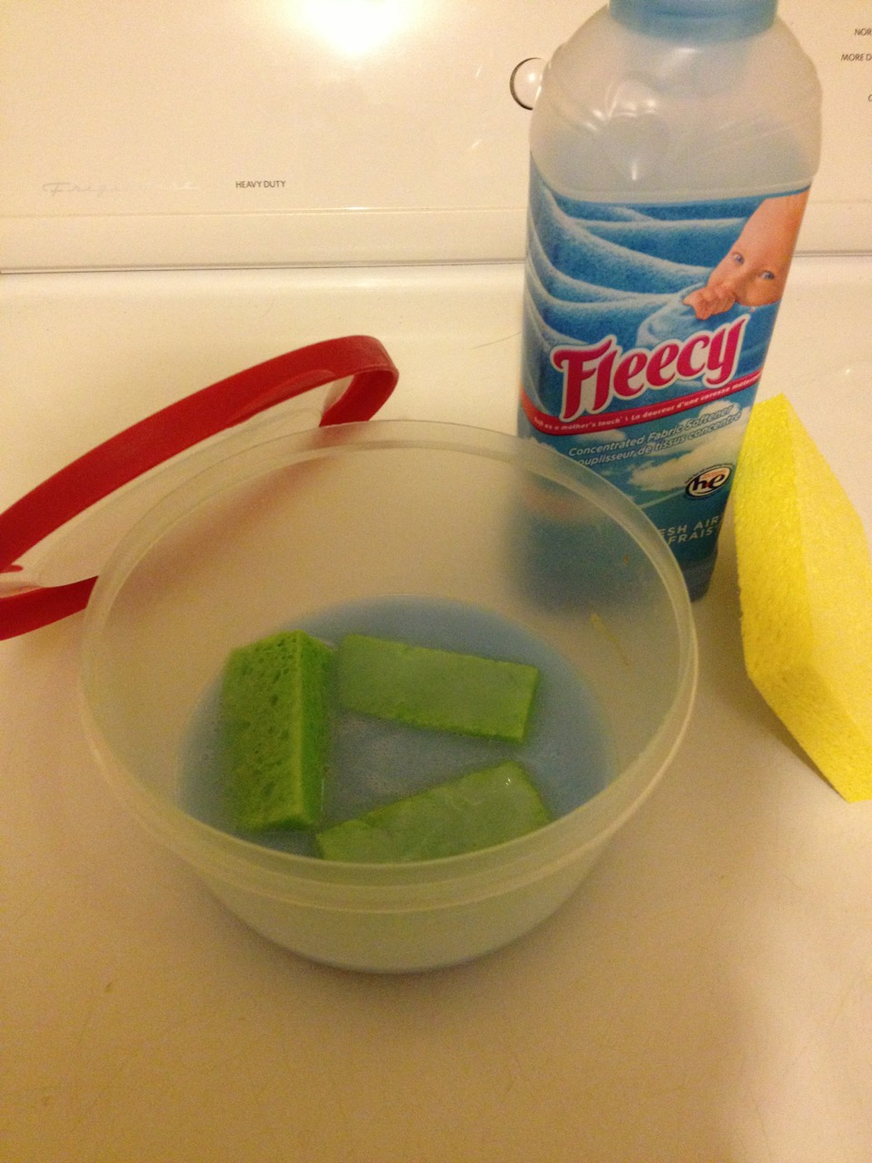 cut up a regular sponge and submerge it into a container of concentrated fabric softener.