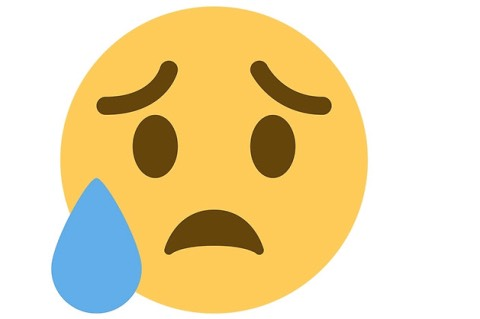 "3. Disappointed But Relieved This looks like a crying emoji at first glance, but observe the placement of that water droplet. It's on the side of the face, signifying sweat rather than tears, and is officially called the ""disappointed but relieved face."""