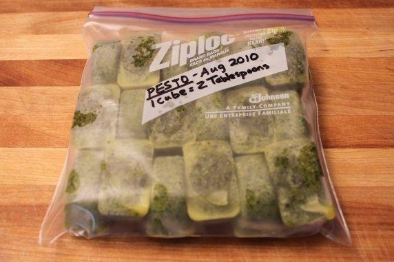 Fill the plastic bag with frozen pesto cubes and return it to the freezer. The are good to use for up to 6 months.