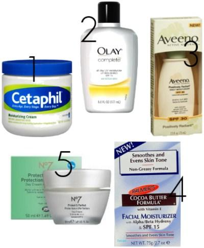Moisturizer is always the first step. This insures that your face won't look extra dry and flakey under the makeup. Here are a few really amazing facial moisturizers from the drugstore.
