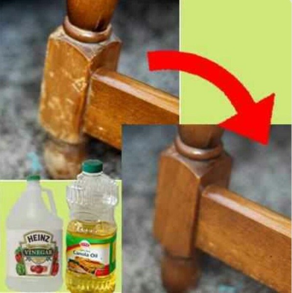 Mix 3/4 cup of oil and 1/4 cup of vinegar. Mix white or apple cider vinegar together and rub it on to the wood. You don't need to wipe it off because the wood will soak it in.