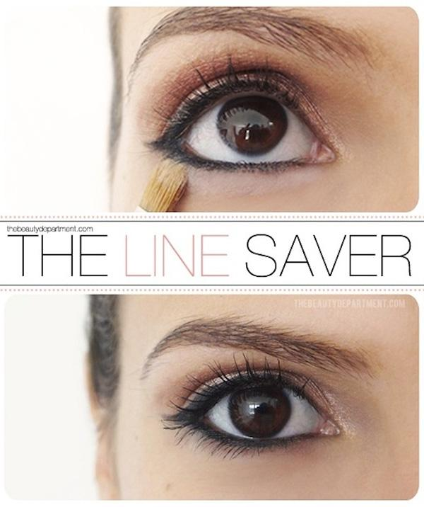 2. To make your lower liner stay in place without smudging, apply pressed powder directly underneath with a small brush. This has the added bonus of highlighting the area.