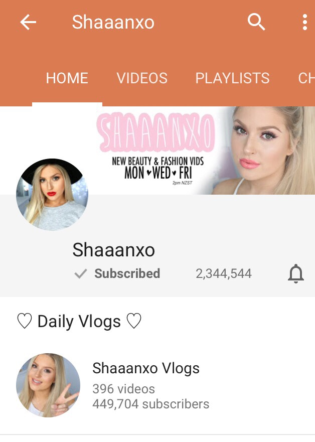 Shaaanxo makes great makeup videos she does makeup tutorials, hauls, and many more things to do with makeup. She also has a Vlog channel. I definitely recommend watching her!!
