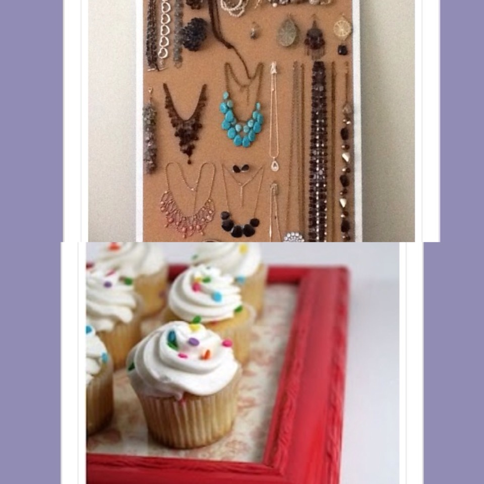 11.Use a cork board to hangup jewelry  12. Use an old picture frame as a tray