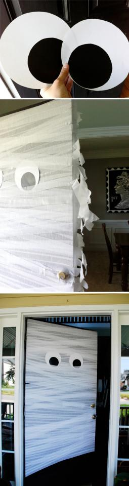 28. The Mummy Door  Wrap the door in streamers and add some poster board googly eyes.