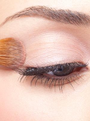 2. Prime Your Eyes If you don't have super oily eyelids, you can get away with using your foundation as an eye primer instead. Just apply a little to your lids, set it, and then apply your eyeshadow as usual. This will also help make your color stand out more.