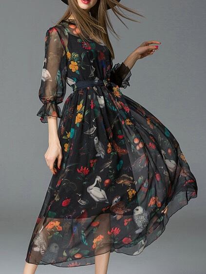 $51.99 http://m.romwe.com/Black-Ruffle-Neck-Animals-Tie-Waist-Dress-p-151315-cat-664.html