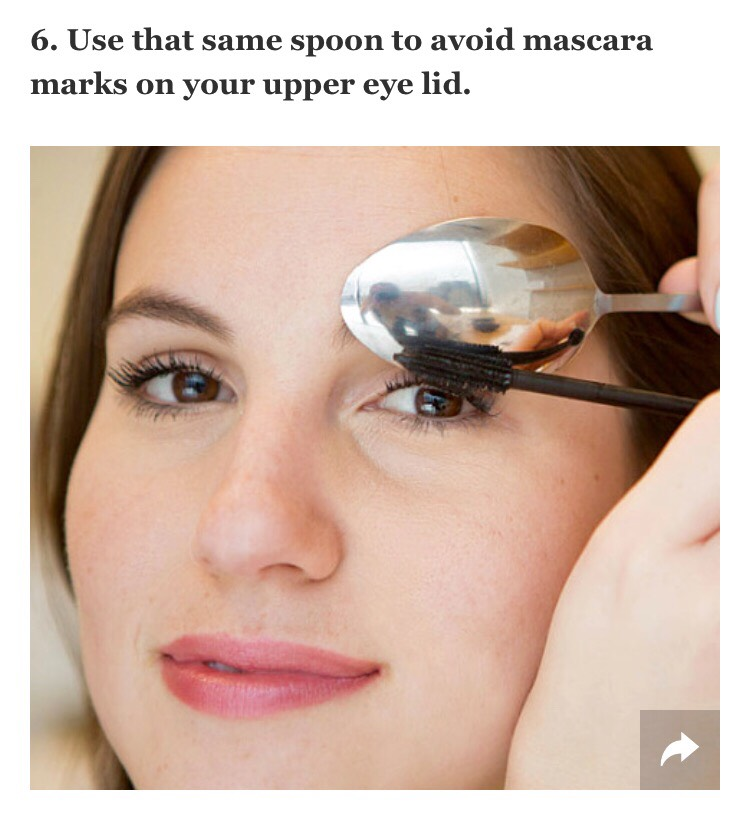 Hold the spoon so it's hugging your eyelid, and then apply your mascara like you normally would. As you sweep the mascara wand against your lashes and back of the spoon, watch as the residue coats the back of the utensil rather than your skin.