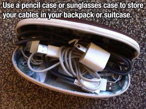use a sunglasses case or pencil zip up case to put your cables and chargers and adapters in for safe travel