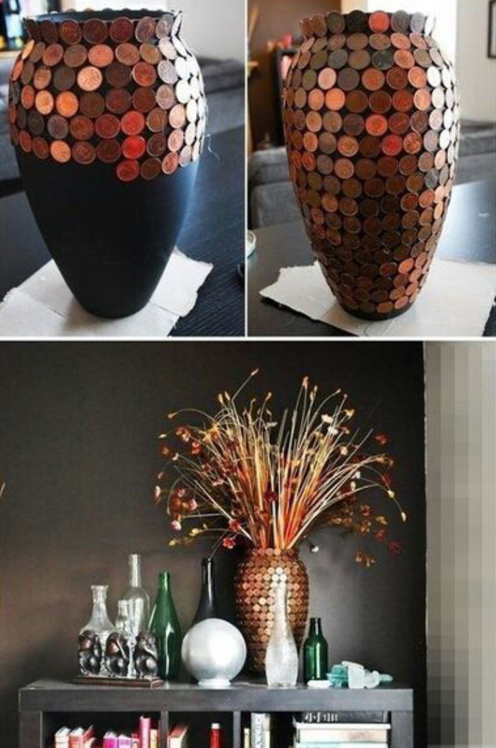 Once started, all you have to do it stick the pennys on in an straight line until you get to the bottom on the vase. Once completed, you are able to add whatever you like into the vase!