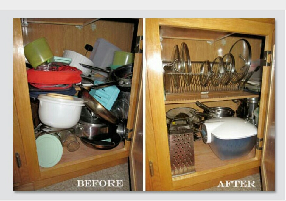 I notice in this picture that not every thing there is in the after photo. Like the tubber ware is not there. But in some other pictures I have you can find a place to put them. :)