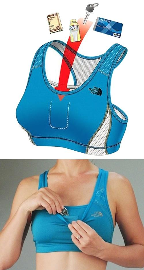 13. Stow-N-Go Bra Keep all of the essentials at just a hands reach with this sports bra from North Face that has a double layer chest pocket. I've also seen this pocket hold an iPod, so it must be quite roomy.Only for A and B cups though, ladies!