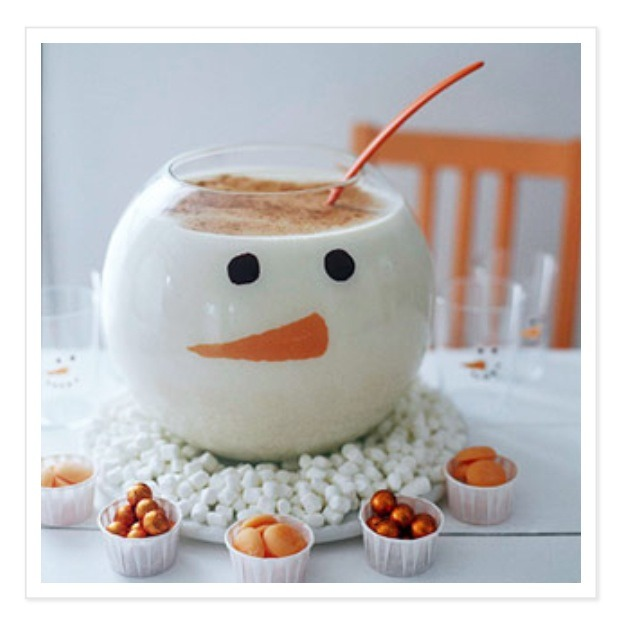 Make a snowman punch bowl and serve white hot chocolate in it! Recipe on next page!