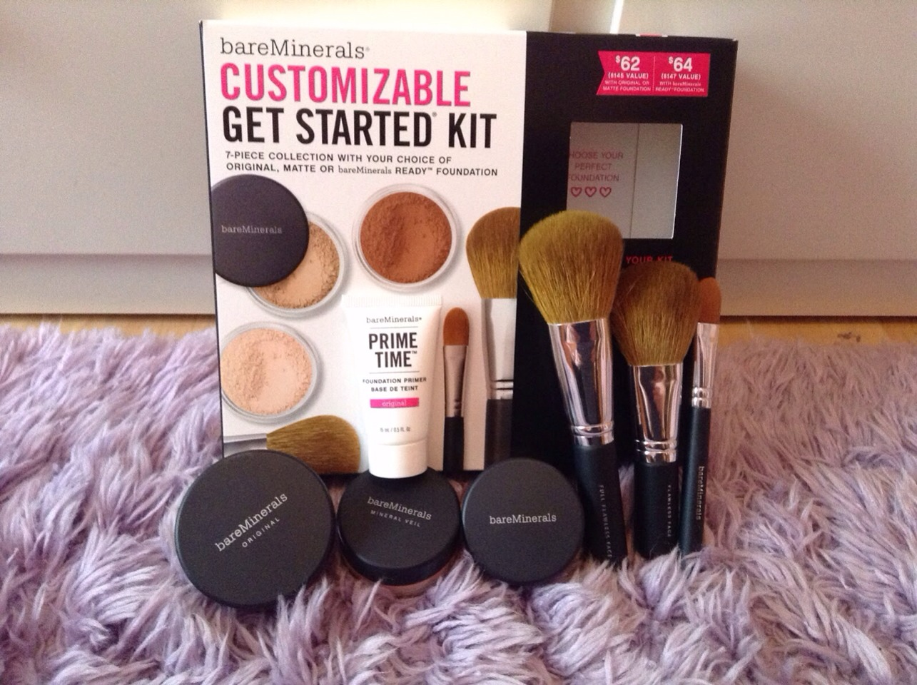 I recommend you ladies to get the Bare Minerals Starter Kit, i absolutely love this ! It comes with your skin color powdered foundation, primer, veil, brushes, & a bronzer ! if you go to a Macy's store there should be a booth and they will actually find your skin color for you (; hope this helps !