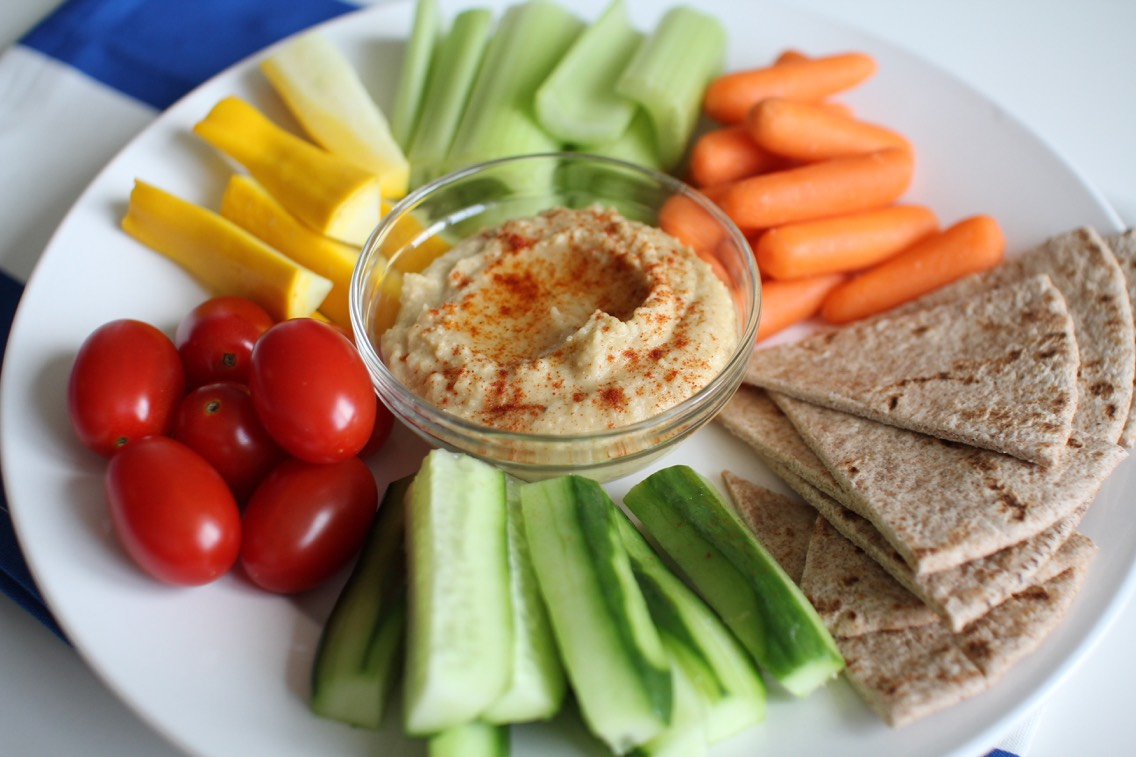 Veggies and humus - one of my favourite after school snacks to enjoy whilst doing homework