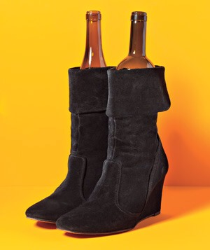 Wine Bottle Boot Stands Use empty (or full) wine bottles to maintain your boots' shapes when they are off your feet!