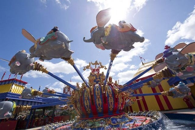 Dumbo the Flying Elephant Soar high in the sky on a flight over Storybook Circus aboard Dumbo the Flying Elephant.  Height: Any FP+: Yes
