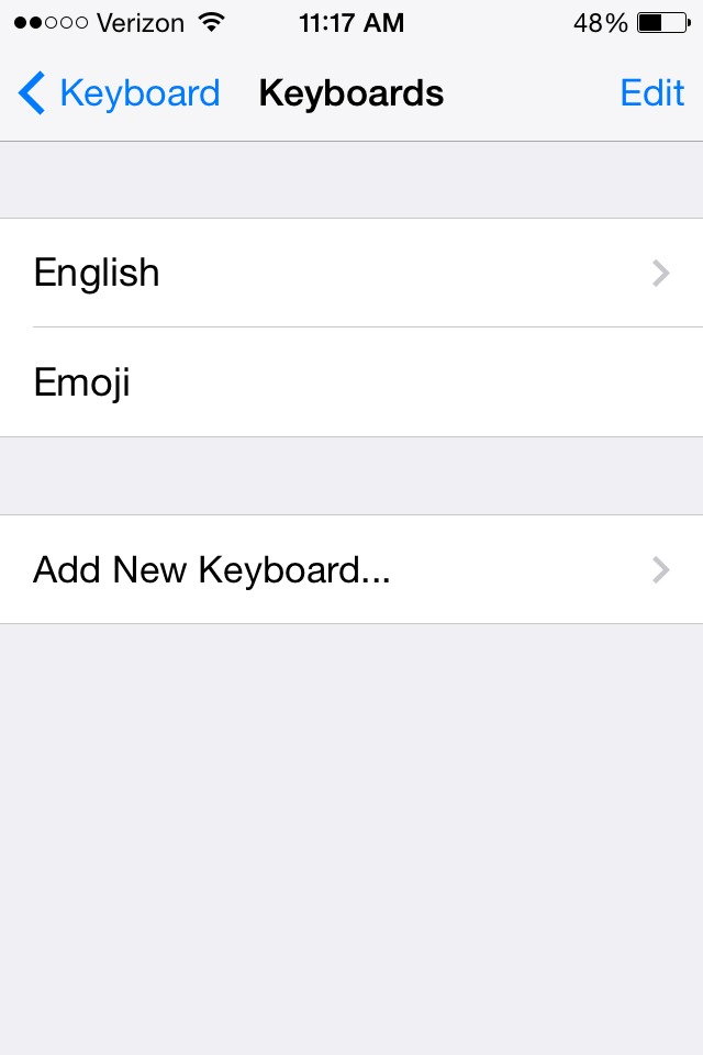 """Then once your inside of keyboards then then tap add new keyboard, and scroll down until you find """"emoji"""""""