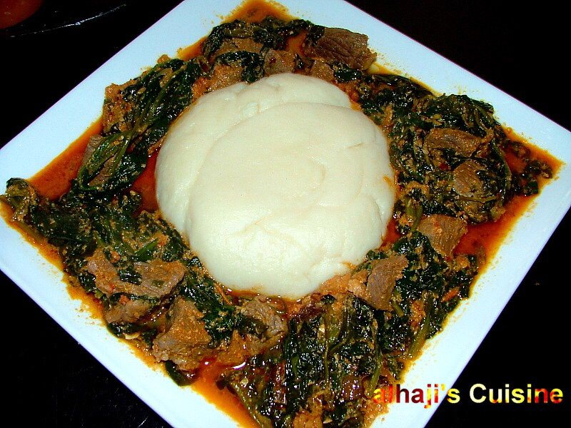 Pounded yam with spinach stew