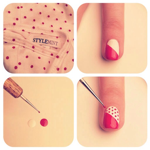 Paint ur nail a solid color, then use a piece of tape and divide the nail and paint the bottom half. Use a dotting tool or a toothpick and make ur dots and cover with a top coat. :)