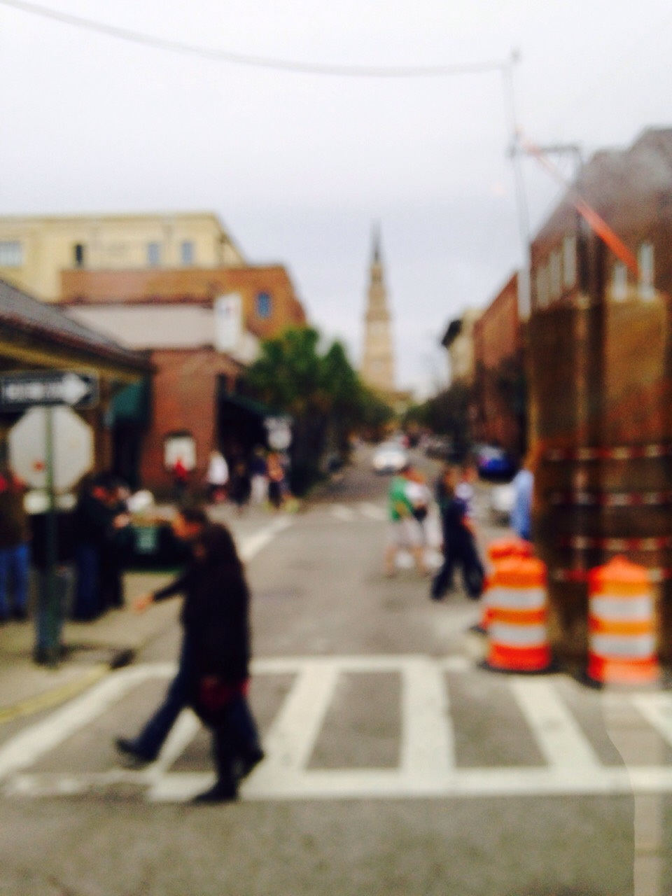When taking a blurry picture, you want the photo to be focused while out of focus. This means that in a blurry pic, focus on one or two focal points. It will give more meaning to the picture. In my photo, I focused on the church and the people closest to the camera.