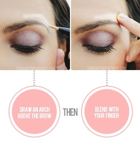 24. Instant Eye Lift This quick and easy illusion will give you an instant eye life. Draw an arch directly above your eyebrow with your favorite highlighter, and blend with your finger. This makes your arch look raised, making the whole eye area look like it's been lifted.