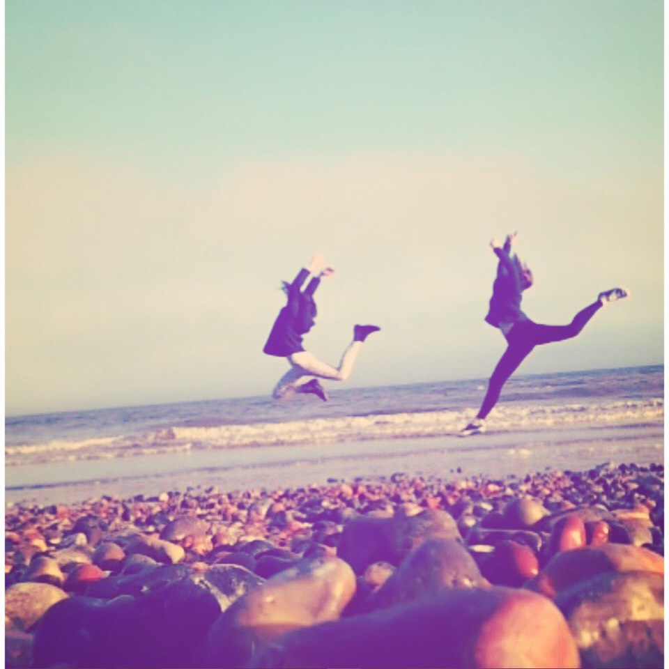 Here's a personal idea of my own: head to the beach and leap for joy together! (Such a cute idea)!