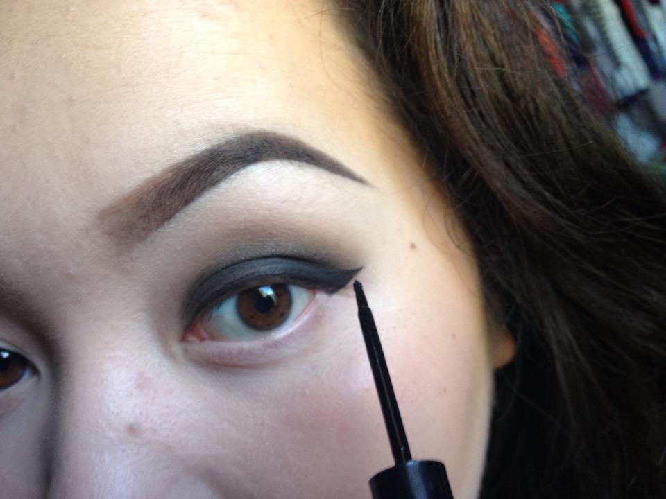 Liquid eyeliner to line guide line.
