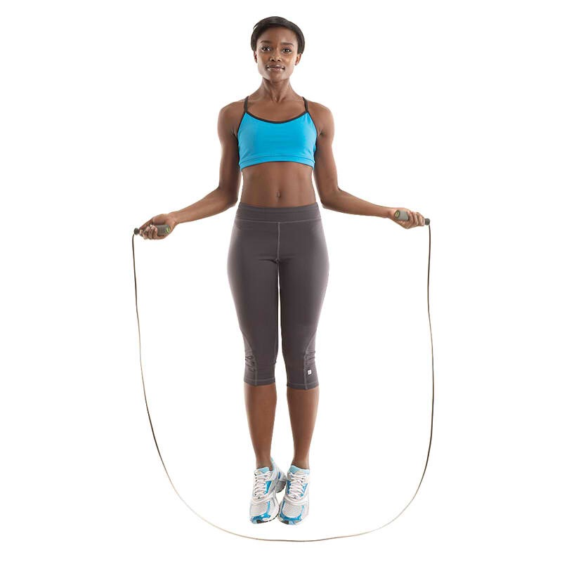 Jump rope All those childhood games of double dutch never felt like exercise, but little you was getting a serious cardio workout. Jumping rope for as little as 10 minutes helps a 150-pound woman shed 113 calories. Belting out your favorite rhymes is optional.