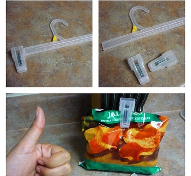 Break the clips off of the hangers and use them as bag of chip clips!