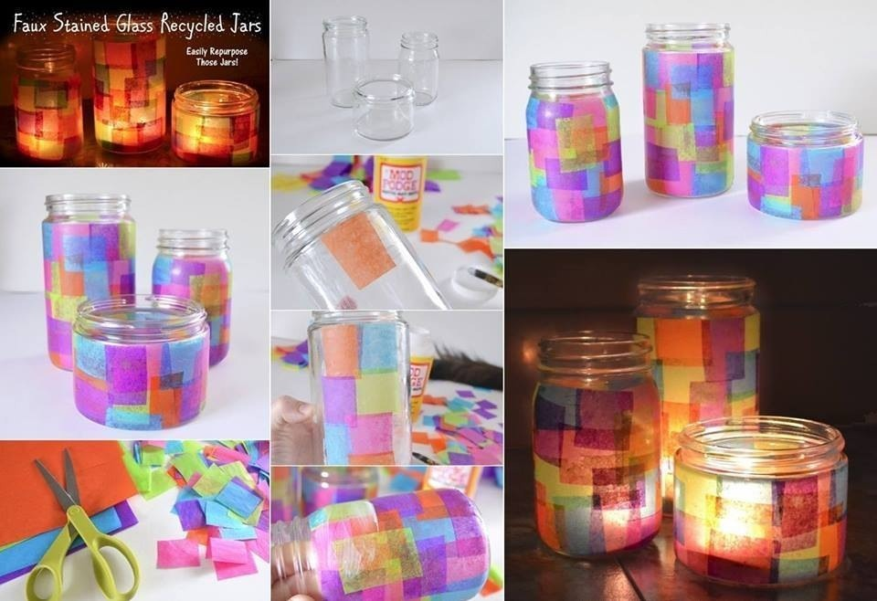 Stained glass~recycled jars