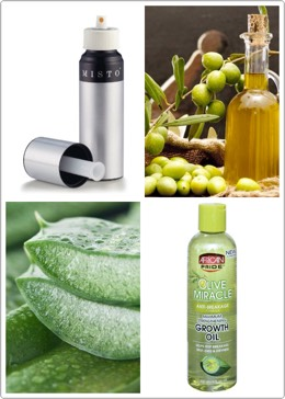 1) this is a misto bottle it's a spray bottle that sprays like hairspray but you can use any spray bottle 2) olive oil 3) aloe Vera 4) hair growth oil that I like to use( mixed with many different oils: coconut, jojoba, grape seed, avocado, etc.) *can add essential oils for smell or other benefit