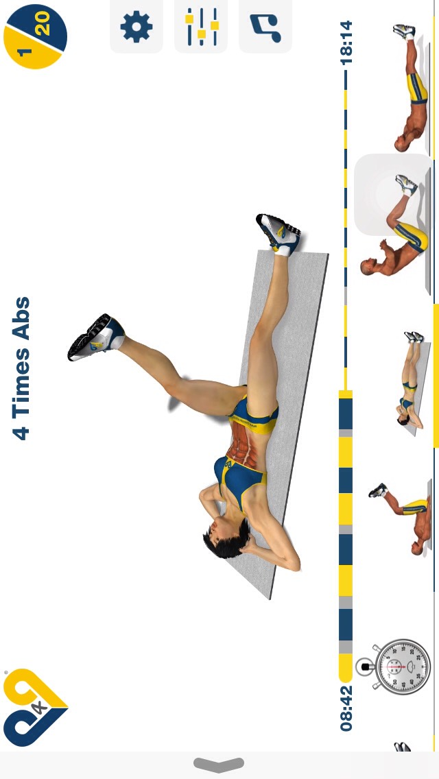 4 time abs, lay on your back & put one leg straight up in the air followed by the other foot, then put the first leg down & do the same w/ the other leg (DO THIS SLOWLY); 20 reps.