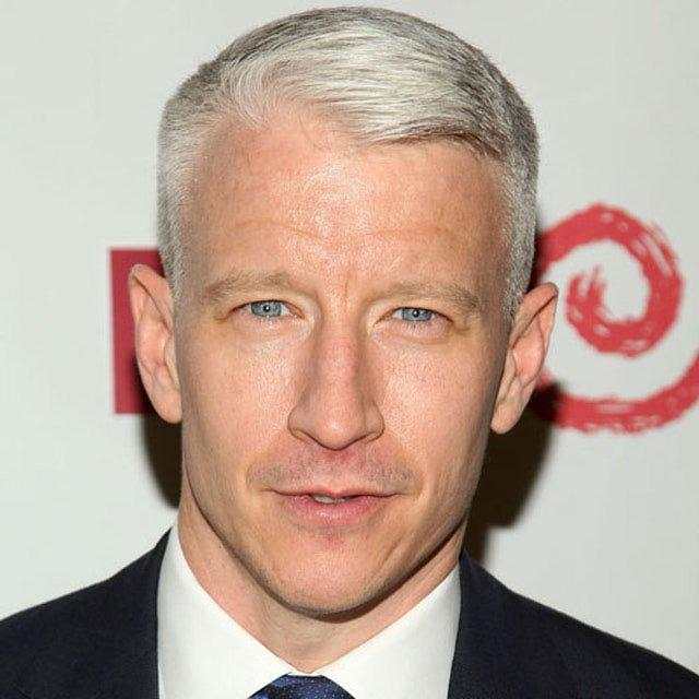 Anderson Cooper keeps to his classic short sides and combover top. With his signature white hair, this is a clean and very easy short cut to maintain.