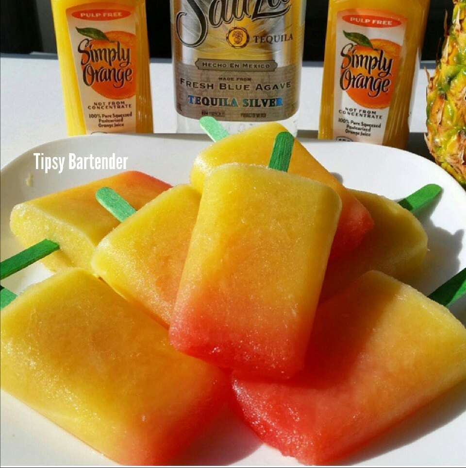 Ingredients: 1 cup Pineapple Chunks 1 cup Simply Orange Juice Drink ¼ cup Tequila Grenadine (1 tsp per each possible)