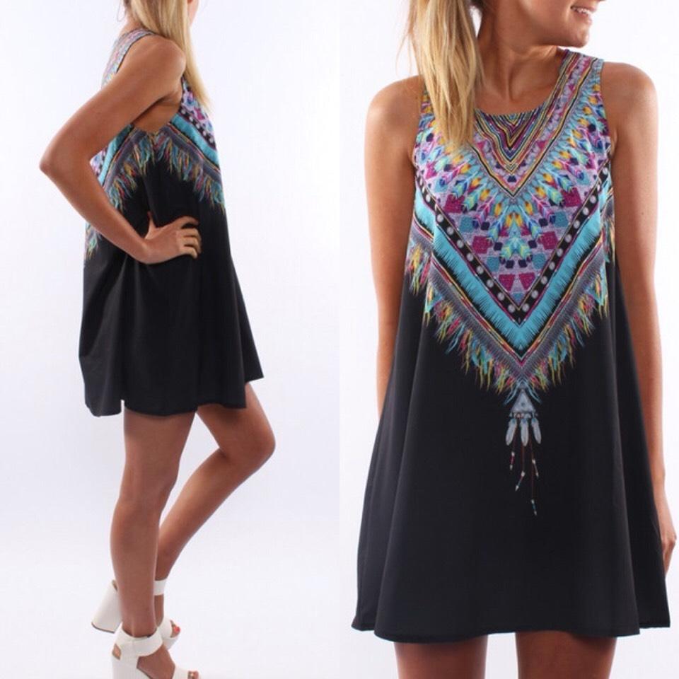 $15.99 http://m.romwe.com/Tribal-Print-Chiffon-Shift-Black-Dress-p-115812-cat-722.html