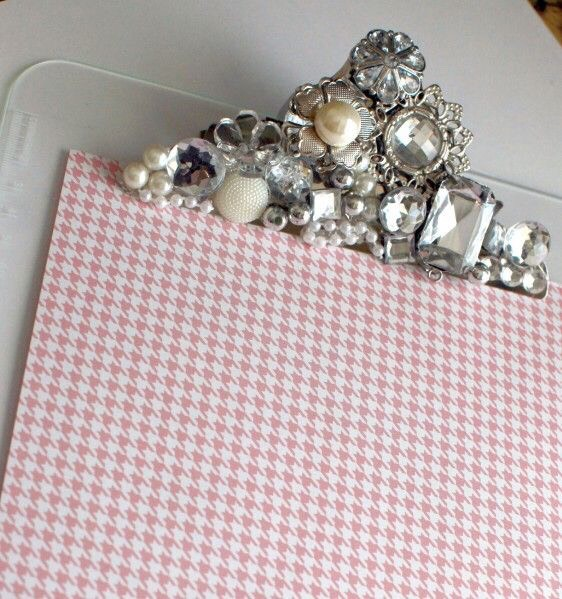 Add some bling to your basic plastic clip board to make it cute!