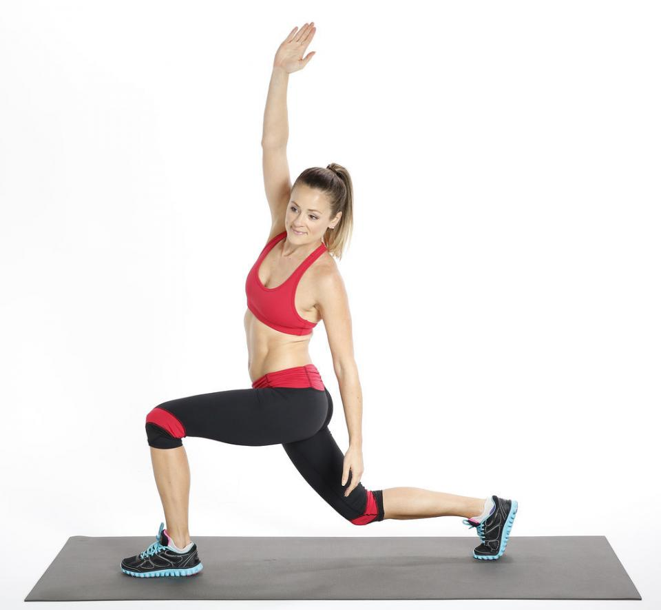 Circuit One: Alternating Backward Lunge With Side Stretch  Reps: 20, alternating legs