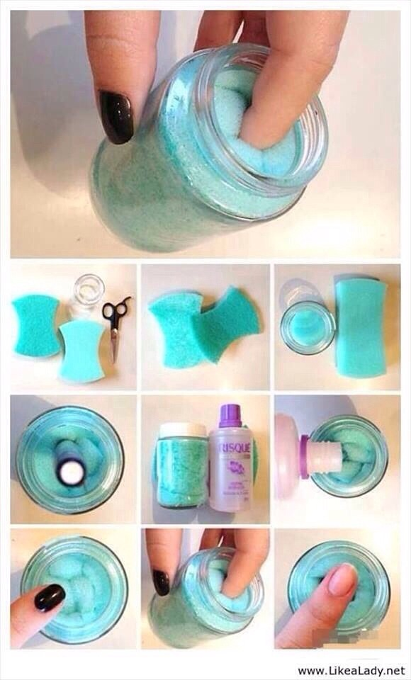 Get an empty bottle and put some sponge in it, make a dent/hole in the middle of the sponge. Pour the nail varnish remover in the hole and stick your finger in it and swirl!