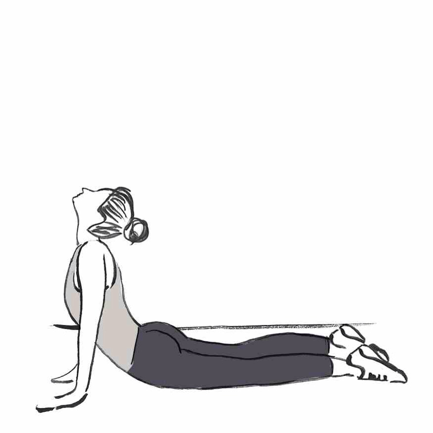 COBRA STRETCH Lying face-down, press your palms into the floor beneath your shoulders. Engaging the abs, push your upper body off the floor, arms straight, while keeping your hips, legs and feet planted. Hold for several breaths and then slowly lower.