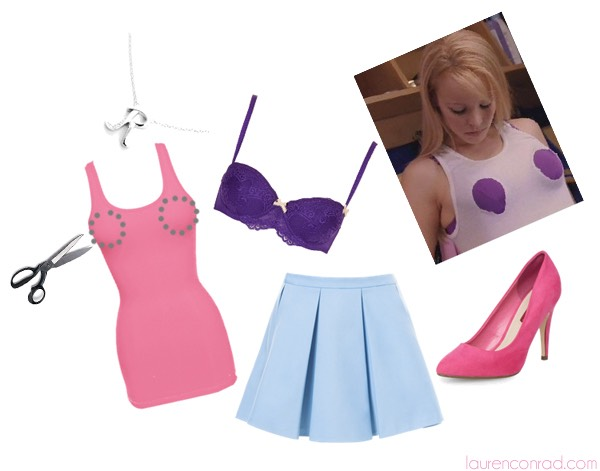 Be Regina George from Mean Girls! Get a pink shirt and cut holes at your boobs area. Then where a purple bra underneath and a blue skirt.