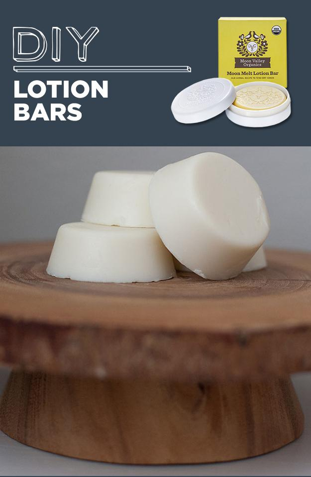 11. DIY Lotion Bars  You'll need beeswax, almond oil, and coconut oil