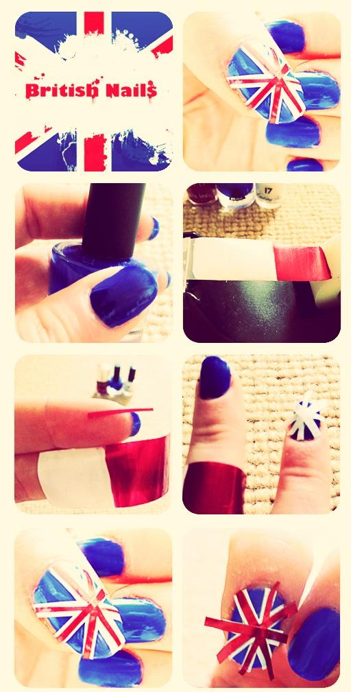 "How to make "" British Flag Nail Art """