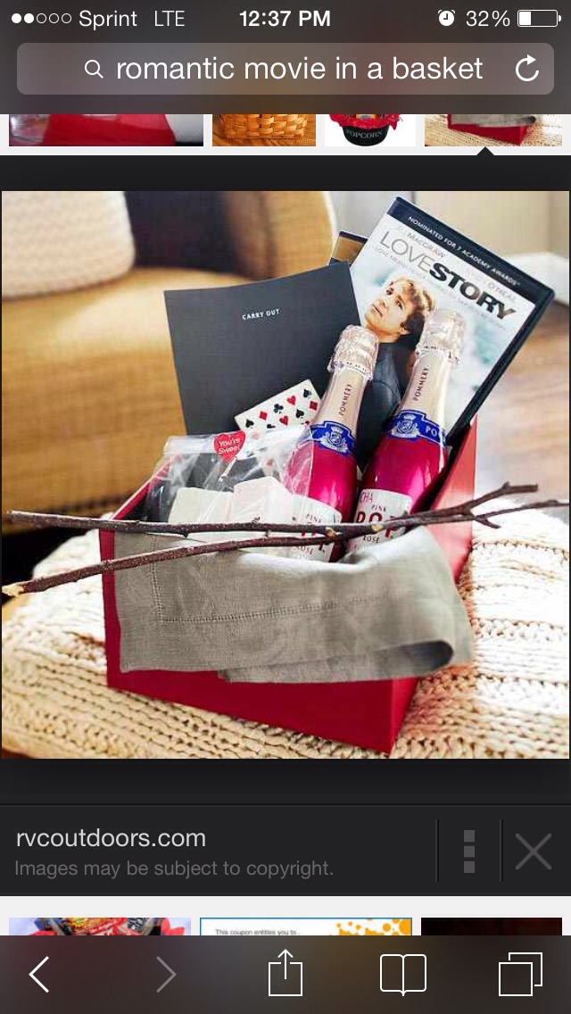 Make a romantic movie basket or box! Add a good movie and things that you both love!