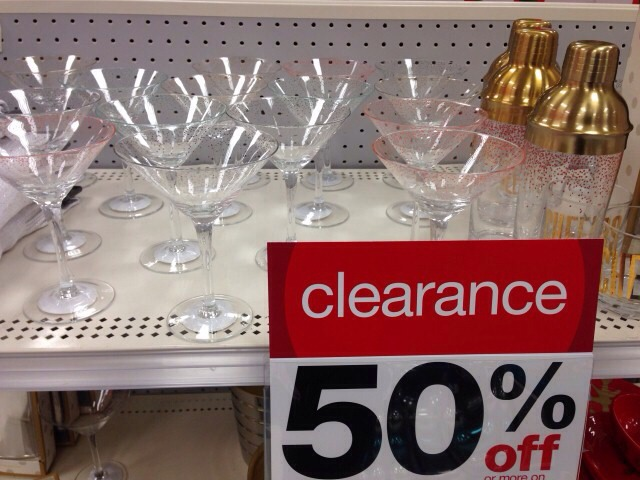 Stemware  Tis the season for holiday parties, and that's why you'll find plenty of fun and fancy stemware in the Christmas section. Think ahead to next week for champagne flutes, treat yourself to new cocktail glasses, or update your wine glass collection — at half the price!