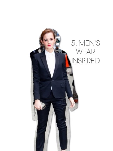 Personally, I don't think I could pull this off but Emma sure makes me wish I could. She looks fierce in a full suit. Since the suit is already such a fashion statement, I like that she keeps the accessories to a minimum. Honestly, a bold red lip is all you need to complete a look.
