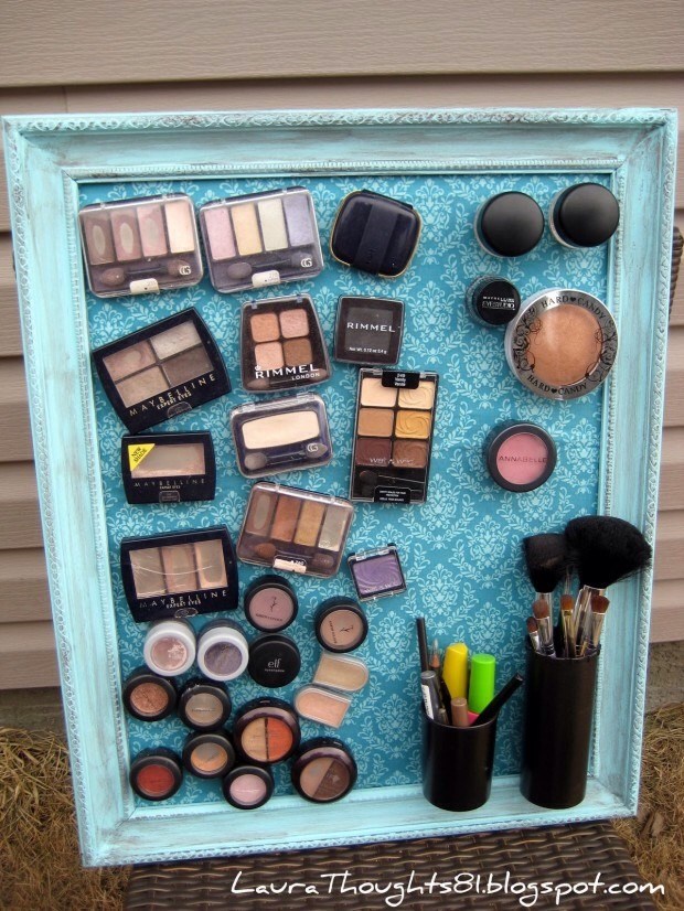 Use a magnetic board like An old cookie tray, paint it and use it as a make up stand by attaching small Stick on magnetics to your make up and never lose your make up again or spend minutes going through cases.